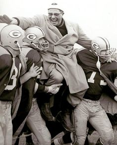 Packers 37, Giants 0 City Stadium, Dec. 31, 1961 After coaching and winning his first NFL title, an overjoyed Vince Lombardi is carried off the field by three of his players: (left-right) Jim Taylor, Paul Hornung and Forrest Gregg.