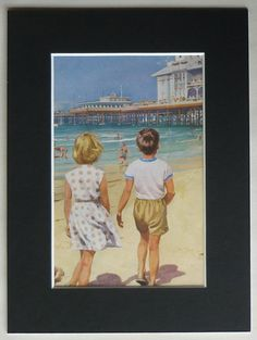 1960s Vintage Peter and Jane Print - Vintage Beach Gift - Available Framed - Retro Seaside Art - Retro Beach Decor - Brother and Sister Art