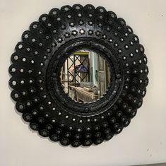 Rustic Mirrors, Wood Mirror, Diy Mirror, Diy Wall Decor For Bedroom, Room Decor, Peacock Mirror, Mirror Painting, Solid Wood, Artisan