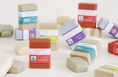 Pretty Packaging. The soaps look corrugated too. Delapointe Soaps Ethical Ocean