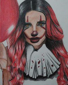 #killer #clown #girl #draw #color