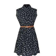 Vestido De  Seda Com Cinto Estampa Gatinhos Cintura Elástica - R$ 180,00
