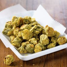This is a recipe for oven-fried okra- just 70 calories for 1/2 cup (not that you have to limit yourself to that amount!). - interesting
