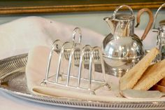 Antique English Silver Plate Toast Rack - Israel Freeman & Sons LTD Sheffield  England - 4 Slice Toast Holder