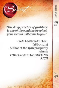 The daily practice of gratitude is one of the conduits by which your wealth will come to you. #TheSecret #Gratitude pic.twitter.com/fCQoMZLbz8