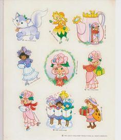 VTG 80s 1983 ROSE PETAL PLACE Cartoon Cat Hallmark Sticker Sheet~David Kirschner
