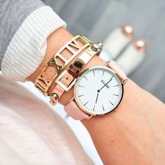 Arm Party Rose Gold Bracelet and watch