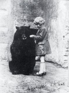 """Christopher Robin Milne and Winnipeg """"Winnie"""" the Bear at London Zoo, ca. 1926 (the original Christopher Robin with his Winnie the Pooh) Old Pictures, Old Photos, Bear Photos, Christopher Robin Milne, Winnie The Pooh, Book Art, Pooh Bear, Interesting History, Run Disney"""