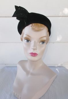 1950s Vintage Black Velour Cocktail Hat with by MyVintageHatShop