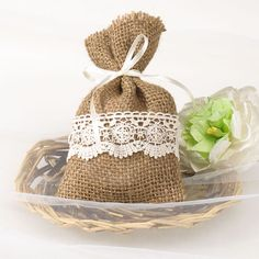 """burlap and lace wedding favors rustic DIY gift bags EWFB068   Use coupon code """"CVB"""" to get 10% off towards all the invitations on #elegantweddinginvites"""