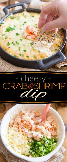 Indulge in a good way with this Cheesy Crab & Shrimp Dip! If you are a lover of everything cheese and seafood, you'll want to bathe in this! Indulge in a good way with this Cheesy Crab & Shrimp Dip! If you are a lover of Appetizers For A Crowd, Seafood Appetizers, Appetizer Dips, Best Appetizers, Seafood Recipes, Appetizer Recipes, Seafood Cheese Fondue Recipe, Shrimp And Crab Dip, Snacks