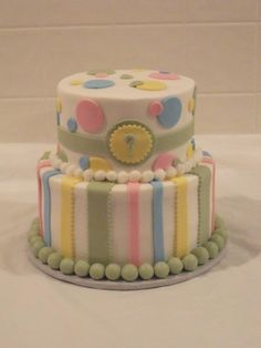 Pastel Polka Dots and Stripes Gender Reveal Cake. The color of the cake or filling on the inside of the cake reveals the baby's gender!