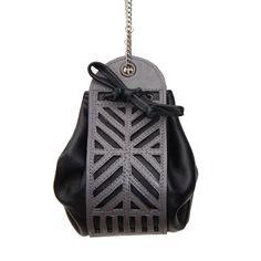Petite bourse en cuir graphique noir et gris : Sacs à main par sevsevad sur aLittleMarket