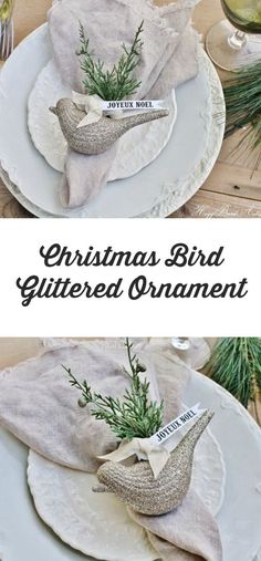 Christmas Bird Glittered Ornament |  I love these birds!  What a cute idea using a Christmas ornament as a napkin ring!  Perfect for a rustic farmhouse Christmas tablescape.  #farmhouse #farmhousestyle #farmhousedecor #Home #homedecor #christmas #ChristmasDecor #french #frenchstyle #frenchcountry #tablescape #holidays #holidaydecor #etsy #etsyfinds #affiliatelink
