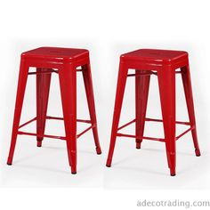 Furnistars 24-inch Red Glossy Metal Tolix-style Chair Counter Stool (Set of 2). This set of two stylish iron barstools is a unique modern addition to your dining room or living room Table. With striking colors and a glossy finish these eye-catching stools are definite conversation pieces. They have a sturdy four-legged design that provides a rustic yet modern look. This style is available in a variety of colors.