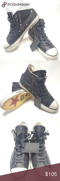 Converse John Varvatos Studded Leather Hi All Star *Brand New, Unused. Ships without box* Chuck Taylor Men 6 / Wom. 8 John Varvatos gives these sneakers a rock n roll spin with a little metal.High top, narrow silhouette sneaker, lace up, waxed laces, embossed studs on sides and back for style, Converse signature patch on side, distressed toe cap and sole for a vintage look, logo branding on sole.  Leather and textile upper Removable insole Double row stud detail Converse rubber outsole with…