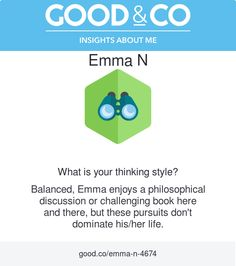 """I'm discovering my personality with Good&Co! This is what they have to say about me so far: """"Balanced, you enjoy a philosophical discussion or challenging book here and there, but these pursuits don't dominate your life."""""""