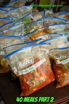 40 Freezer Meals Part 2 - I'll have to modify some of these recipes, but definitely a fountain of information!
