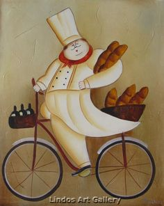 The Busy Chef with Bread Oil Painting