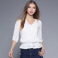 Spring 2017 New Ladies Cotton Strap +V Neck White Hollow Two-piece Base Women\'s t Shirt
