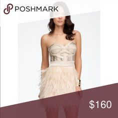 BRAND new Bebe studded feathered dress Size XS. Never worn. bebe Dresses Mini