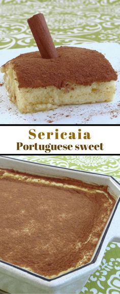 The sericaia is a typical Portuguese sweet greatly appreciated in Portugal Get to know our recipe and delight yourself - food_drink Köstliche Desserts, Delicious Desserts, Dessert Recipes, Alcoholic Desserts, Strawberry Desserts, Plated Desserts, Portuguese Desserts, Portuguese Recipes, Portuguese Sweet Bread