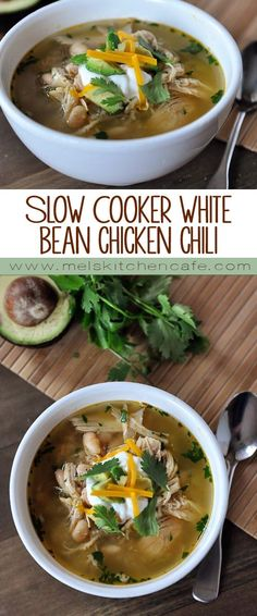 This delicious slow cooker white bean chicken chili is simple and fantastic!