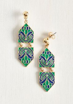 Flaunt your love of gilded grace when you accent your ensemble with these exquisite, enamel earrings. Boasting an Art Nouveau-inspired floral design in rich teal and deep cerulean, these dazzling studs, dangling in a mirrored geometric design, are a museum-worthy match.