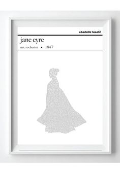 Jane Eyre Text Art Poster Charlotte Brontë by PoppyLanePrints
