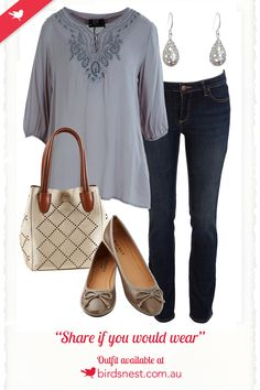 Outfit Inspiration- This weekend-ready outfit is both casual and sophisticated! You won't be lacking style, nor class, when coupling your jeans and top with patent flats, tear drop earrings, and a laser cut bag.