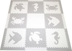 SoftTiles Sea Animals Set with Borders Light Gray and White. The light gray and white play mat is perfect for a designer nursery or playroom. It's beautiful and the lighter tones just kind of blend in with the room.