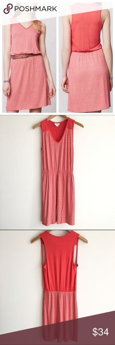 Anthropologie Deletta Red Chevron Jersey Dress A pinkish red all over Chevron Print jersey dress. Cinched at the waist. Excellent condition. Anthropologie Dresses