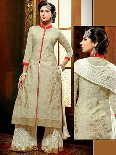 Bewitching beige, off white color #Chanderi #Kurta with foil print, fancy patch. Item code : SLEB30013 http://www.bharatplaza.com/new-arrivals/palazzo-suits.html