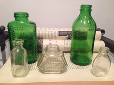 Beautiful Vintage Emerald Green and Clear Glass Bottles by TheNeoNewYorker on Etsy