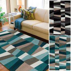 Hand-tufted Beecher Geometric Teal Area Rug (8' x 11') | Overstock.com Shopping - The Best Deals on 7x9 - 10x14 Rugs