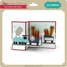 Pop up boxcard box card with a Christmas train on the front