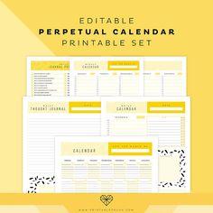 Editable Perpetual Calendar Printable Set - Orange