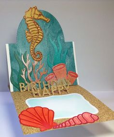 Crafting While I Wait: Seahorse Pop Up Card