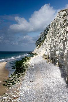 The chalk cliffs of Cap Blanc Nez, a cape on the Côte d'Opale, in the Pas-de-Calais, northern France