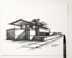 My lazy Sunday architectural sketch - Frank Lloyd Wright -… | Flickr