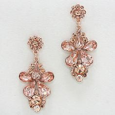Rose Gold Peach Crystal Marquise Drop Dangle Earring