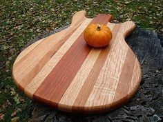 Handmade Wood Rockin Guitar Cutting Board - PRS Style - Massachusetts Cherry and Oak and Brazilian Goncalo Alves  Personalized Laser Engraving now