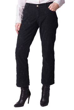77c99742e28632 JUCCA Corduroy Trousers Size 26 Black Embroidered Cropped Made in Italy  RRP163 #fashion #clothing