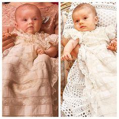 Princess Estelle of Sweden (at her christening, 2012) and her brother Prince Oscar of Sweden (at his christening, 2016)