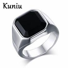 KUNIU Fahsion big stone anel para o homem de aço inoxidável clássico do punk preto anéis de pedra para jóias masculinas atacado(China (Mainland))