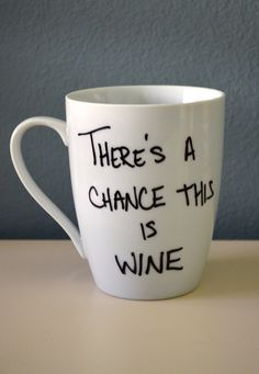 There's A Chance This Is Wine  Porcelain Coffee Mug Mother's Day by FlutterBunnyBoutique