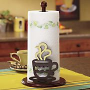 "Coffee Paper Towel Holder is the perfect organizer for a coffee-themed kitchen. Solid and composite wood with dark brown finish and cream colored ""steam"". I Love Coffee, My Coffee, Coffee Shop, Coffee Life, Coffee Lovers, Coffee Theme Kitchen, Cafe Themed Kitchen, Kitchen Decor Themes, Home Decor"