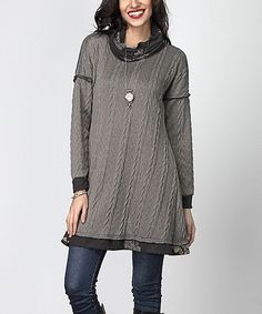 Charcoal Cable Knit Floral Cowl Neck Split Back Tunic