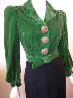 Vintage dress with green velvet top, 1940's.