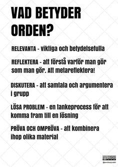 Learn Swedish, Swedish Language, Kids Planner, Visible Learning, School Hacks, English Words, Work Quotes, Primary School, True Words